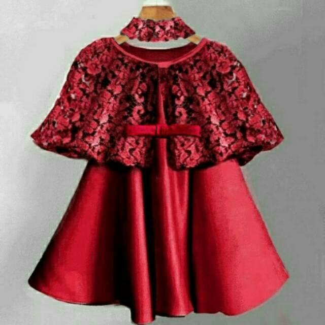 Dress Anak Usia 2 4 Tahun Bagus Cape Brukat Brokat Lace Cantik Lucu Cute Free Bandana