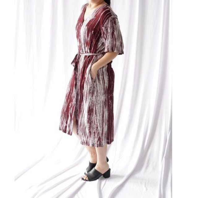 LAST ONE Slipa Wear ROSEWOOD Maroon dress -  premium rayon soft kancing depan imlek busui friendly
