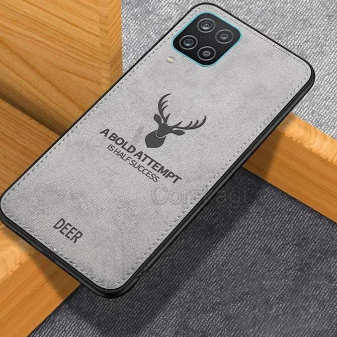 CASE DEER SAMSUNG A12 SOFTCASE TPU JEANS CANVAS BACK COVER - Hitam