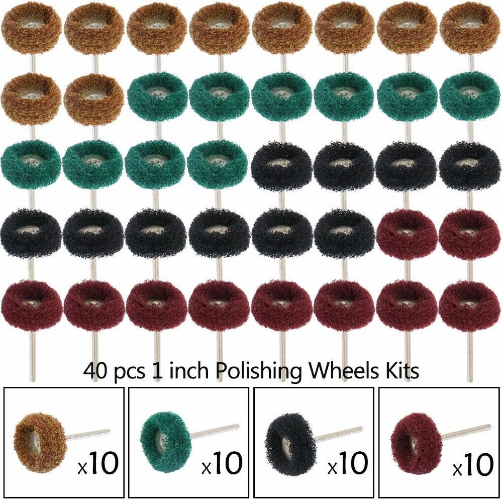 3mm 40Pcs 25mm Mix Grit Abrasive Buffing Polishing Wheels,1//8 Shank Compound Buffing Wheels Set for Dremel Rotary Tools