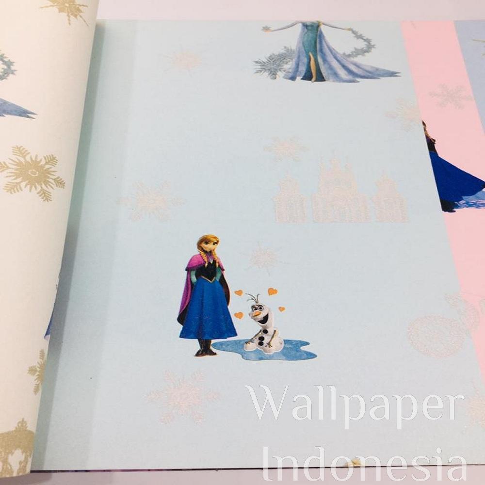 Baru Murah Wallpaper Vinyl Premium Biru Muda Karakter Kartun Anak Frozen Cantik Lucu York 4419 2