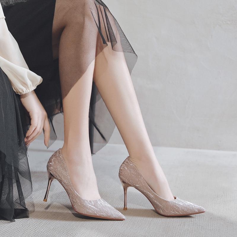 Trendy 2020 Musim Semi Sepatu Pernikahan Baru High Heels Wanita