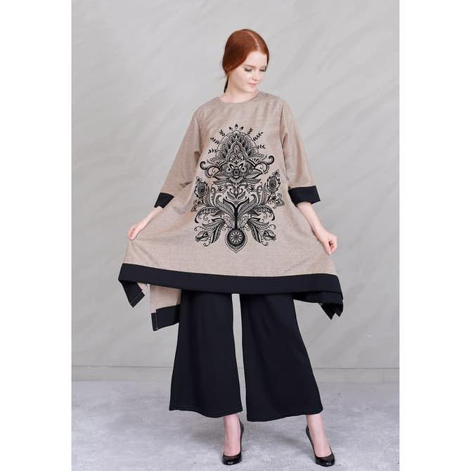 Jfashion Tunik Tangan 3/4 Printing Beludru Kombinasi warna - Arimbi   Shopee Indonesia