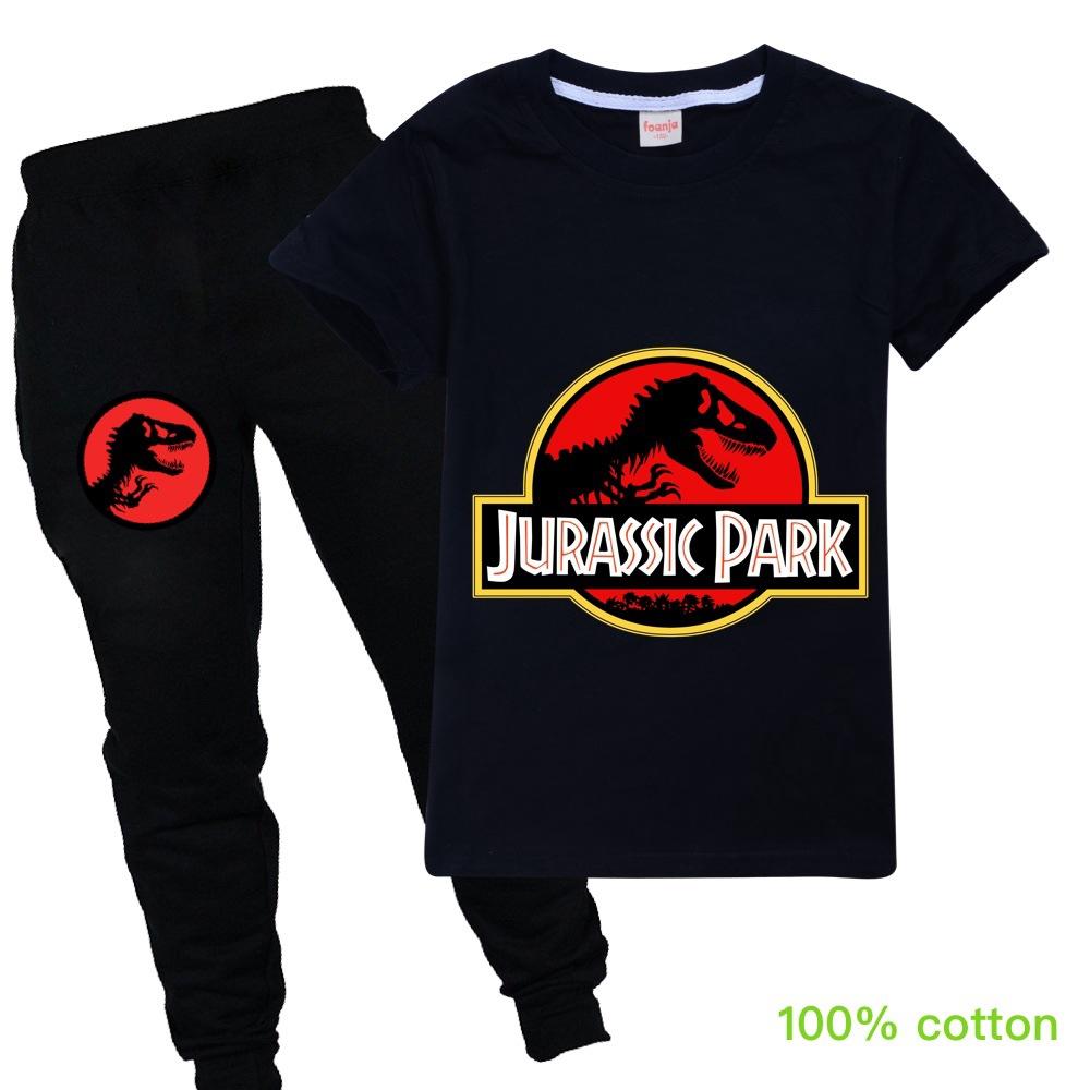 Setelan Kaos T Shirt Katun Anak Perempuan Lengan Pendek Gambar Kartun Dinosaurus Celana