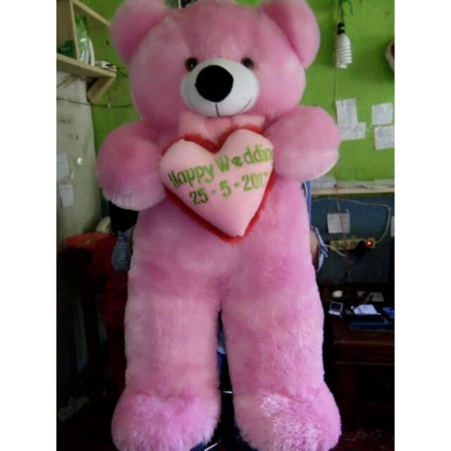 Boneka Beruang Teddy Bear Lucu Warna Soft Pink Murah Bordir Love Nama Maksimal 20 Hurup Shopee Indonesia