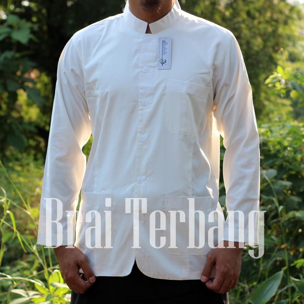 Baju Koko Safari Alhabib Putih Polos Baju Muslim Kerah Sanghai Shopee Indonesia