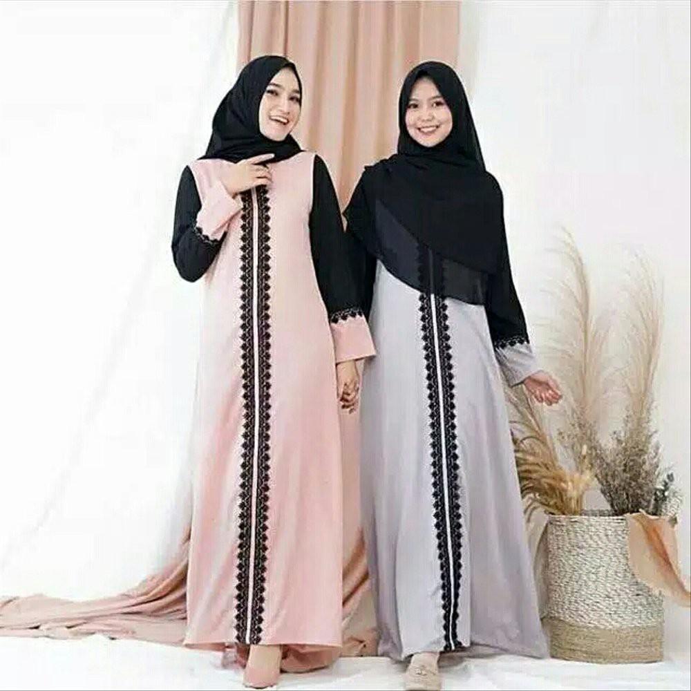 Baju Gamis Wanita Muslim Gamis Syari Muslimmah Perempuan Muslim Hijab Dress  Polos Elegan renda