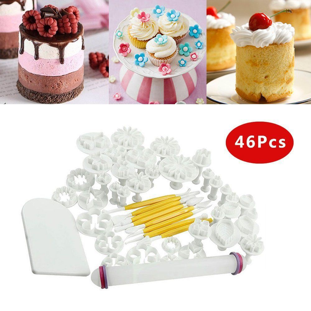 Pieces Cetakan Fondant Lengkap Fondant Cutter cake Decorating Fondant Icing Plunger Cutters Mol | Shopee Indonesia