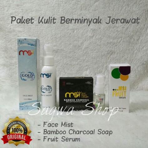 Paket Lengkap MSI Original Face Mist Sabun Bamboo Charcoal Soap Fruit Serum Kulit Berminyak Jerawat