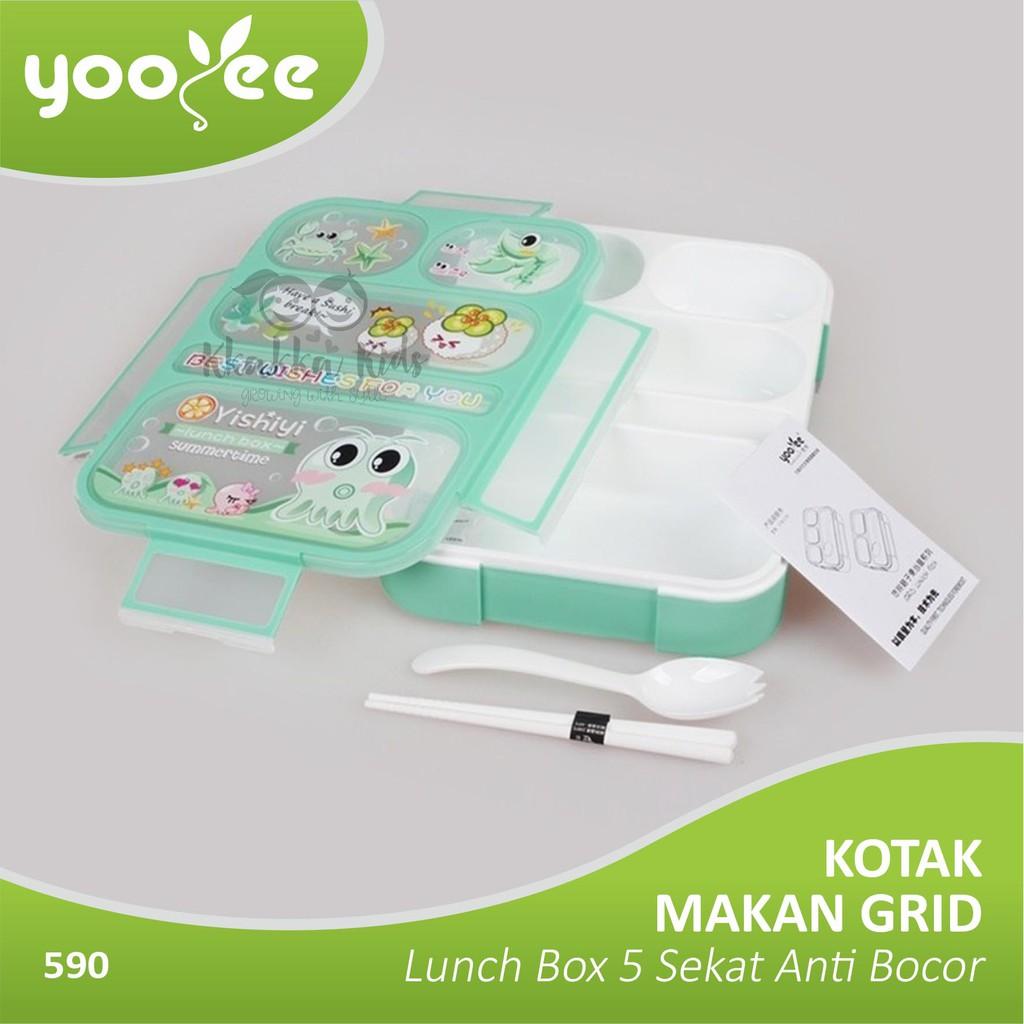 Yooyee Kotak Makan Grid Bento Lunch Box 5 Sekat Anti Bocorleak Leakproof 578 Bocor Tosca Proof Tempat Yooye Shopee Indonesia