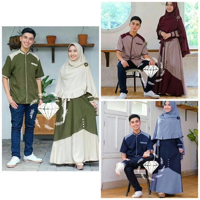 B1p08 Set Cp Samawa Baju Couple Busui Muslim Gamis Couple Moscrepe 3 Warna Shopee Indonesia