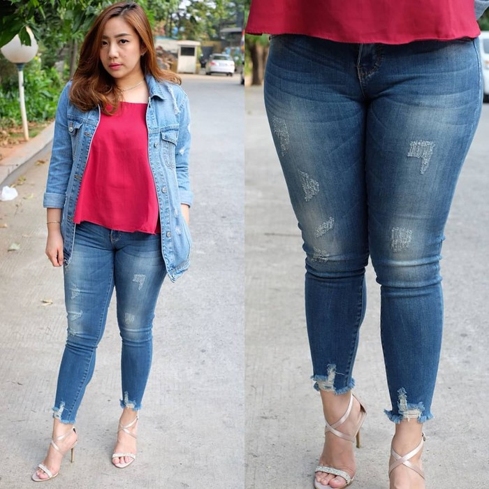 Celana Jeans Wanita Big Size Calie Jeans 7/9 Murah Jumbo/ Ripped Jeans - Biru, 31 | Shopee Indonesia