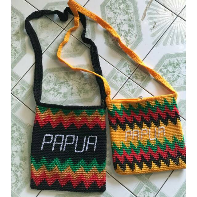 Tas Noken Papua Rajut Slempang Zig Zag Papua Shopee Indonesia