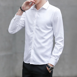 Edition Pure-colour and Shirts Leisure Handsome Shirts Business Men's Self-cultivating Korean