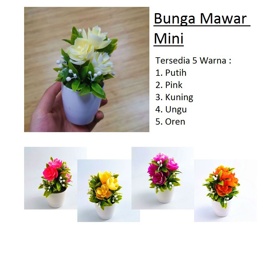 Bunga Mawar Mini Pajangan Tanaman Plastik Shopee Indonesia