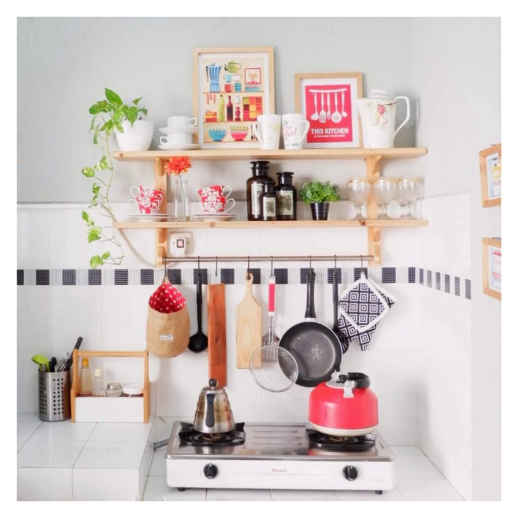 Rak dapur susun natural (Rak dapur minimalis/Rak serbaguna/Gantungan  dinding)