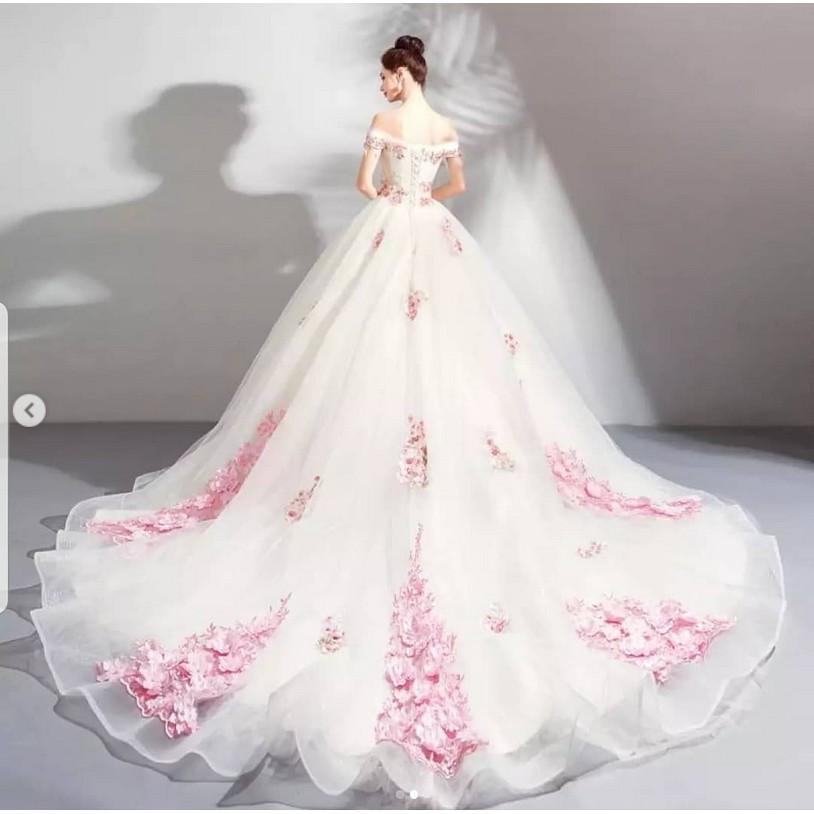 Wedding Dress Bunga Gaun Pernikahan Mewah Gaunpengantinterkini Shopee Indonesia