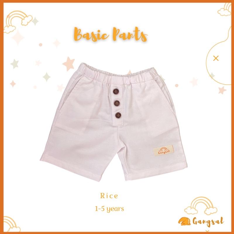 Gangsal Alit – celana pendek anak – celana pendek warna putih – celana anak katun linen