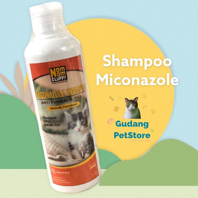 Shampoo Obat Miconazole NOM NOM CLUPPY jamur kutu melembutkan mengembangkan bulu kucing anjing