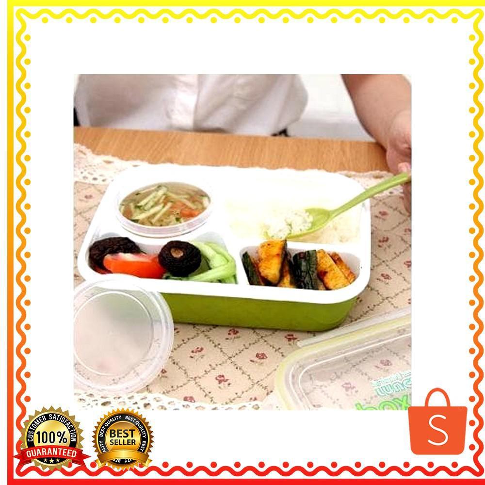 Yooyee 392 Lunchbox Sup 4 Sekat Shopee Indonesia Leakproof Mini 605 Kotak Makan Anti Tumpah Biru Muda