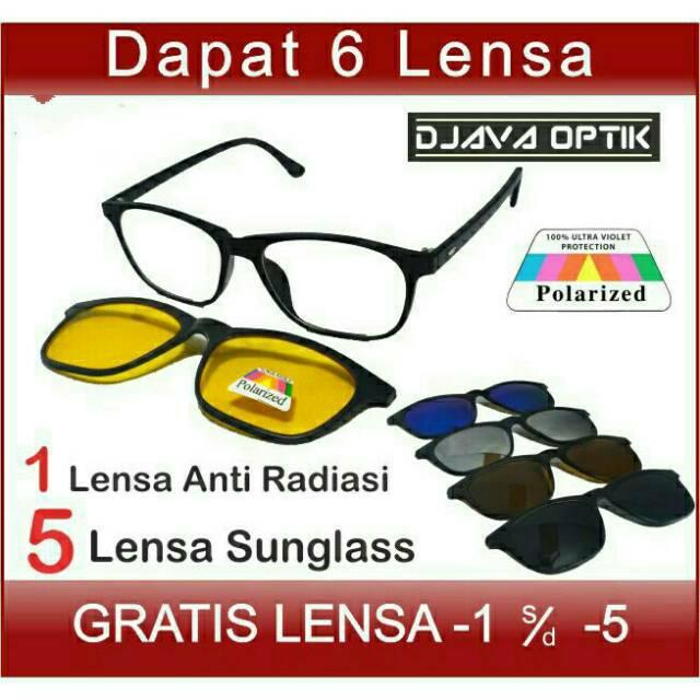 Kacamata Wanita Fashion Kacamata Pria Minus Clip On 5 Lensa Frame Kacamata  Hitam Polarized Sunglass  5020187e37