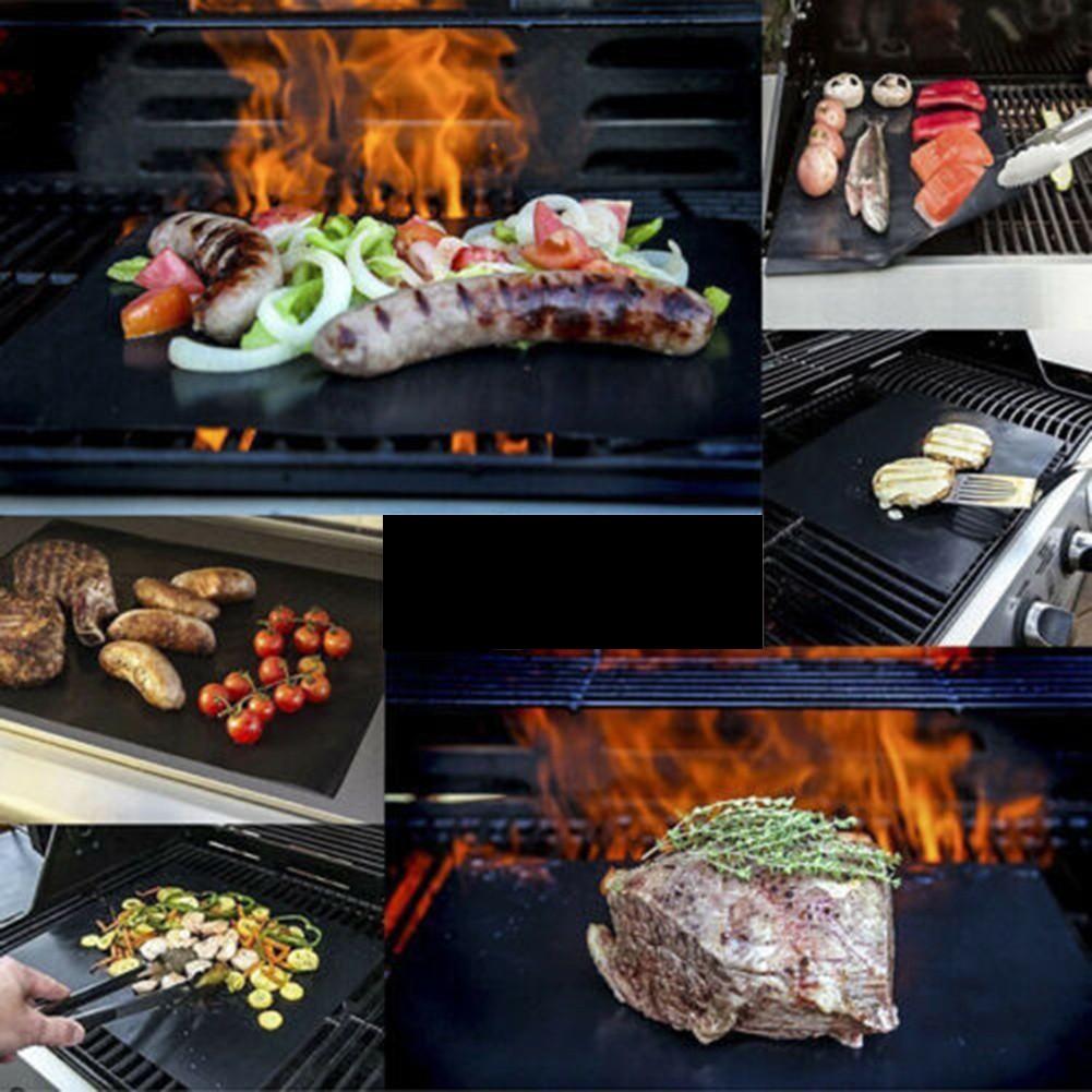 2 PCS Non-stick Reusable BBQ Grill Mats Sheet Baking Mat Cooking Barbecue Pad