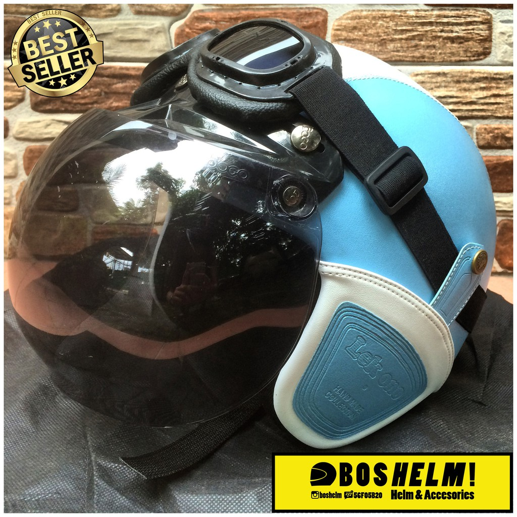 Promo Helm Retro Bogo Biru Muda Kaca Half Face Shopee Indonesia Fino Mrc Grey Doff