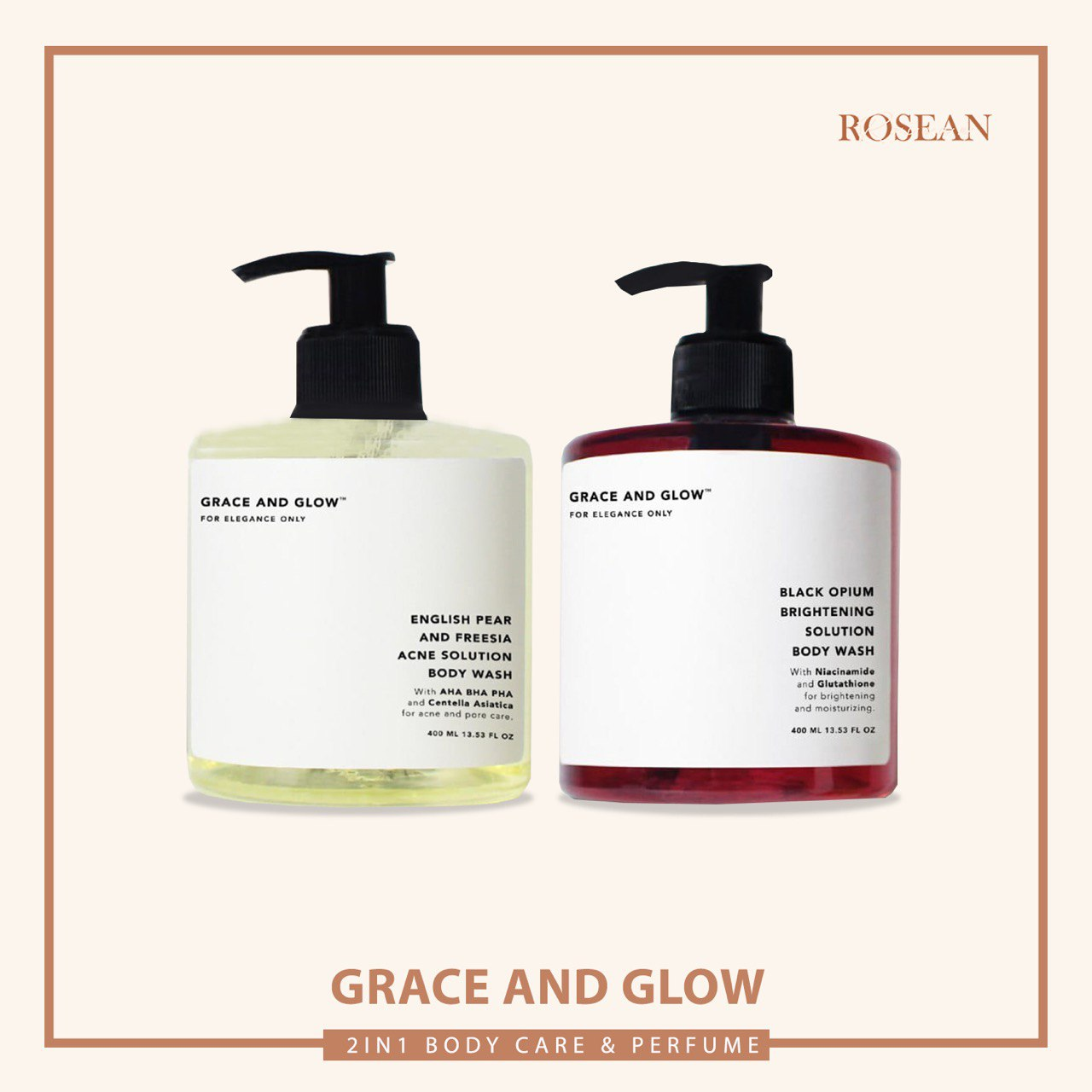 Grace and Glow Black Opium Brightening Booster / English Pear and Freesia Anti Acne Body Wash