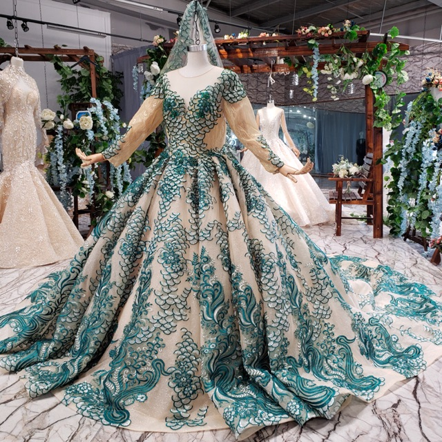 Gaun Pengantin Import Wedding Gown Premium Gold Kombinasi Hijau Lengan Panjang Hijab Chica Outlet Shopee Indonesia