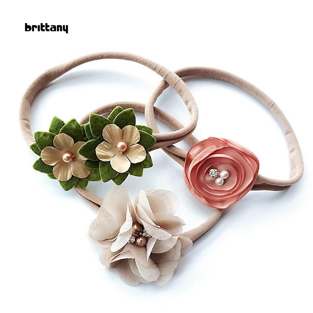 3Pcs//Set Baby Infant Head Band Hair Bows Flower Hairband Kids Stretch Headband