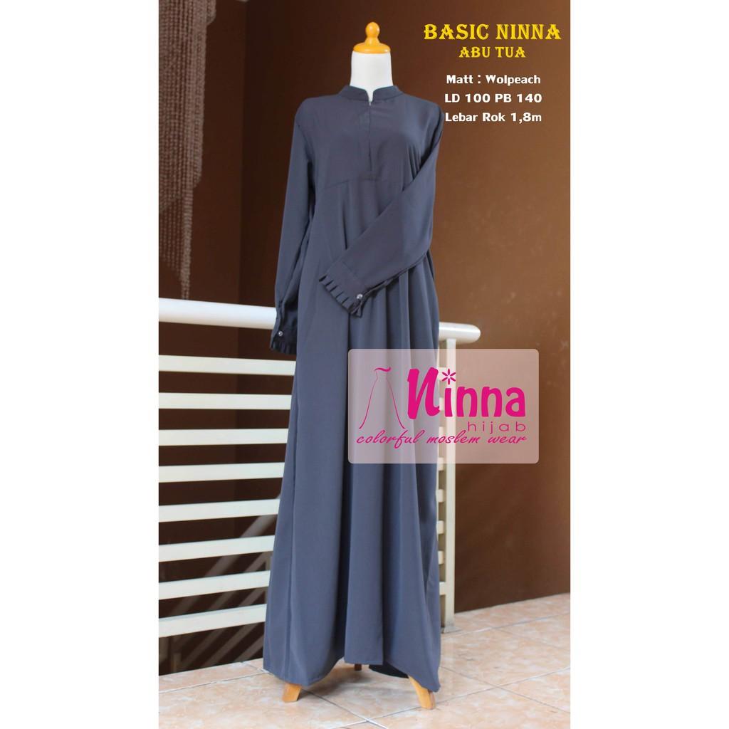 Gamis Polos Abu Grey Abu Tua Wolfis Dress Wanita READY STOCK