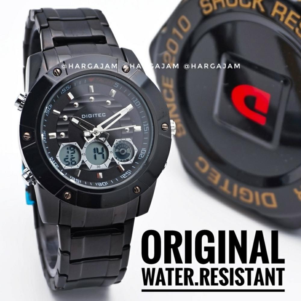 Jam Tangan Pria Dual Time Digitec Dg 3024 T Water Resist Full Hitam Dg2064t Strap Rubber
