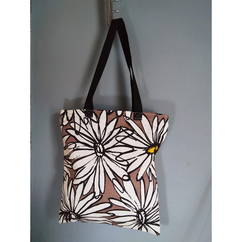 Tote Bag Kanvas Premium Motif Bunga Matahari Coklat Shopee Indonesia