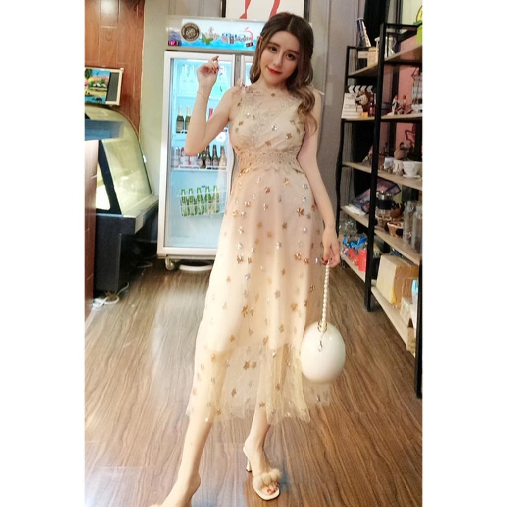 Dress Midi Tanpa Lengan Motif Lace Bintang untuk Wanita | Shopee Indonesia