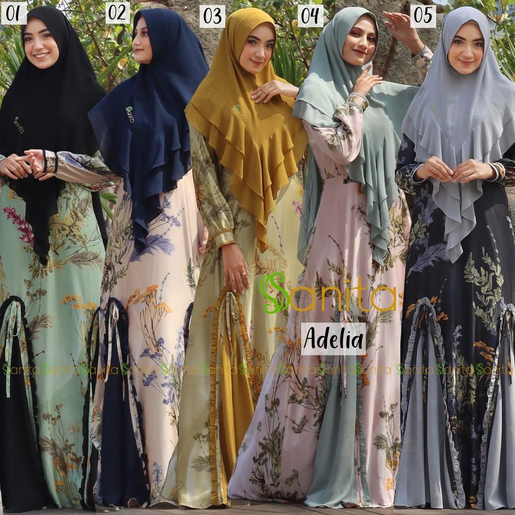 Gamis Syari Adella Original By Sanita / gamis sanita set hijab /sanita gamis syari