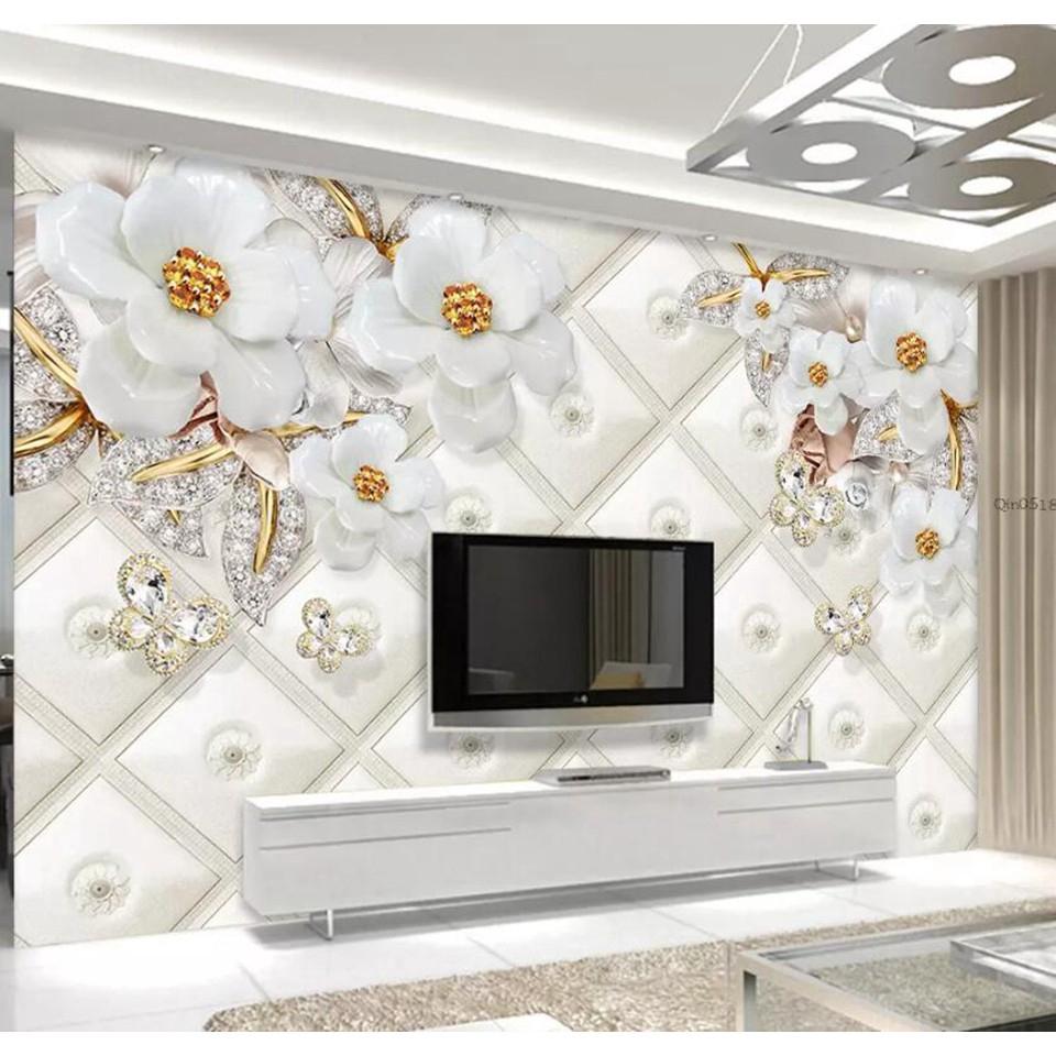 Kustom 3d Modern Wallpaper 3d Wallpaper Dekorasi Mural Bunga Emas Mural Mewah