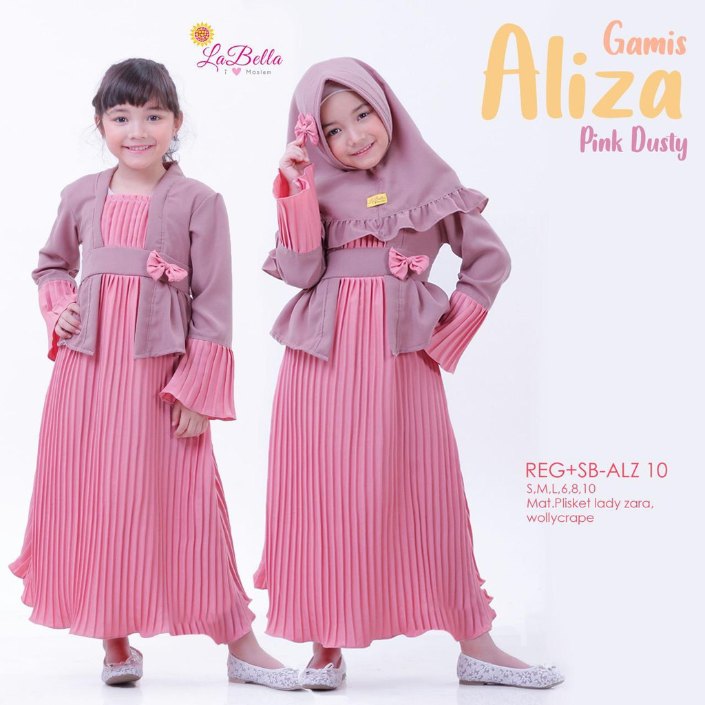 (10-10 tahun) ALZ 10 Baju Muslim Gamis Anak Labella Aliza Plisket Pink