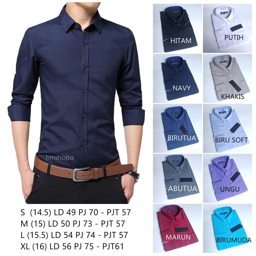 ALISAN Original Kemeja Polos SLIM FIT Lengan Panjang //Size 14,5 - 16// // HITAM// //PUTIH// | Shopee Indonesia