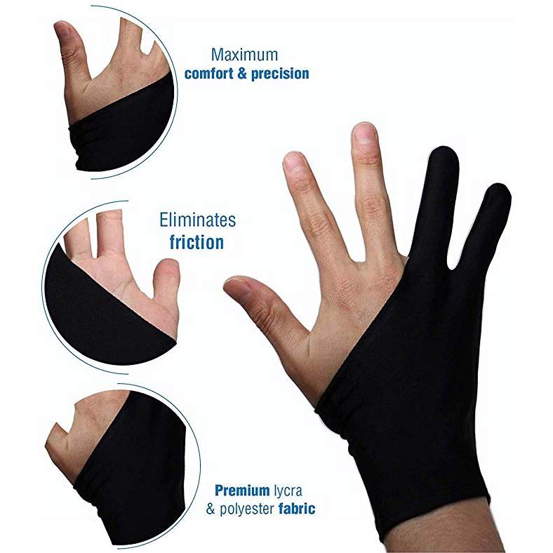 EL 3pcs Graphic Tablet Drawing Professional Free Size Artist Sketch Gloves