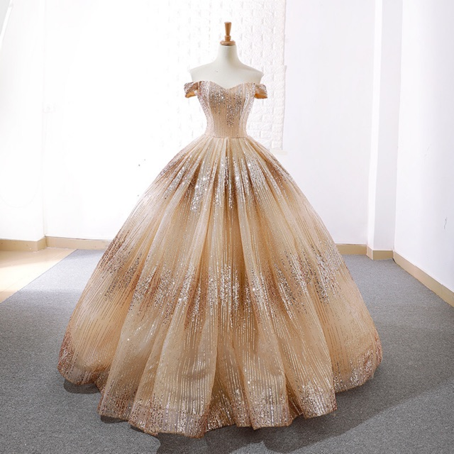 Golden Bling Sequin Luxurious Off Shoulder Wedding Party Big Ball Gown Dress Shopee Indonesia