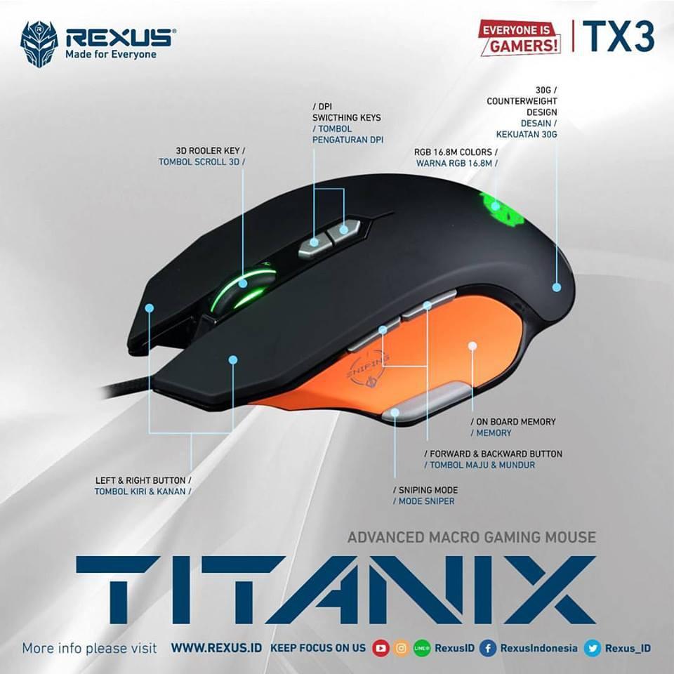 Rexus Mouse Gaming Macro Titanix Tx9 Tx 9 High Quality Paket Super Hemat Tx3 Keyboard K9rgb Shopee Indonesia