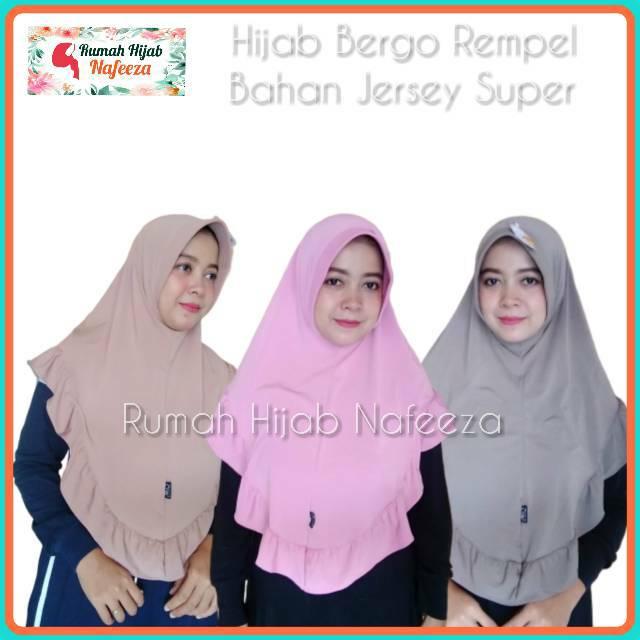 Hijab Jilbab Bergo Rempel Bahan Jersey Super Shopee Indonesia