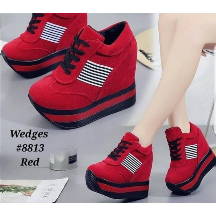 Jual Sepatu Wedges Boots Tali Zebra Mia Hitam Putih R2 Murah   Shopee Indonesia