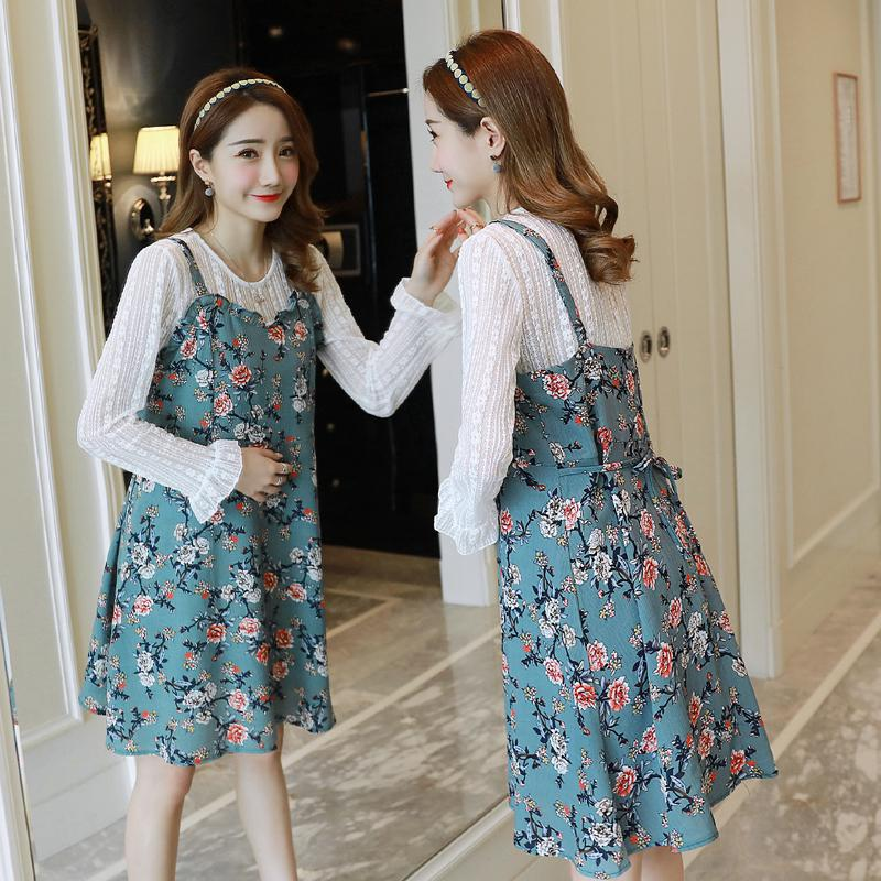 2019 Spring Long Sleeve Lace Top And Floral Slip Dress 2pcs Maternity Dress Set