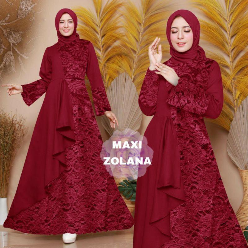 Baju Gamis Muslim Terbaru 2021 Model Baju Dress Pesta Wanita kekinian Bahan Brokat Kondangan Remaja