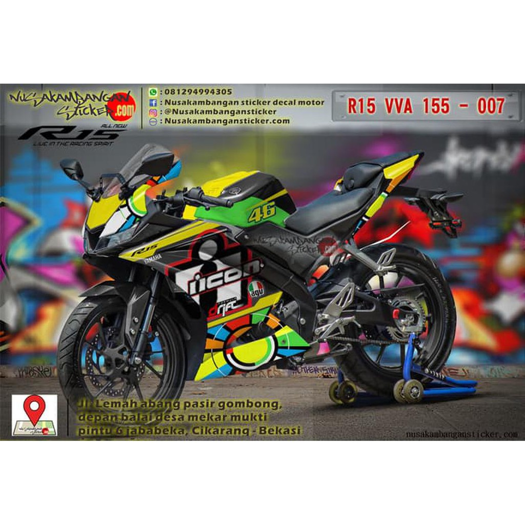 Decal stiker all new r15 v3 shopee indonesia