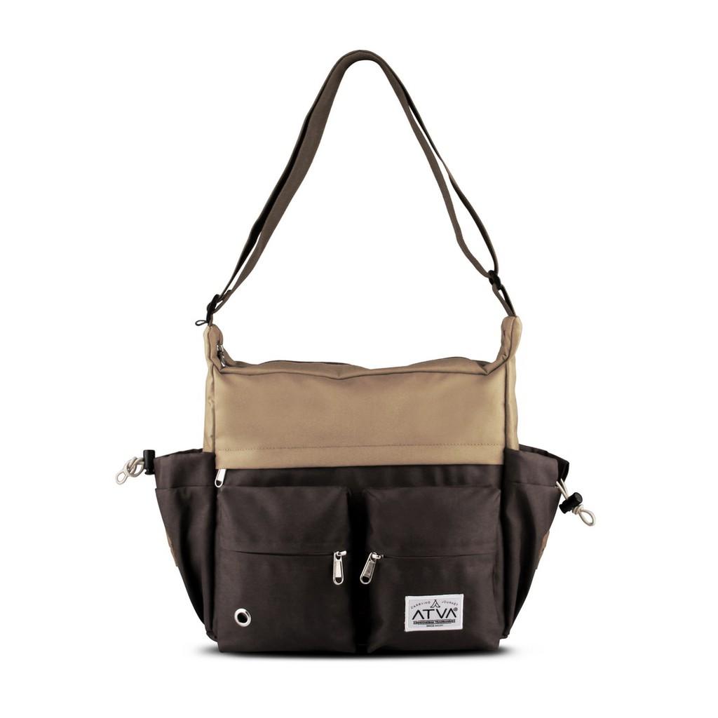 tas selempang pria – tas selempang wanita – Atva Bounce Series Khaki Brown