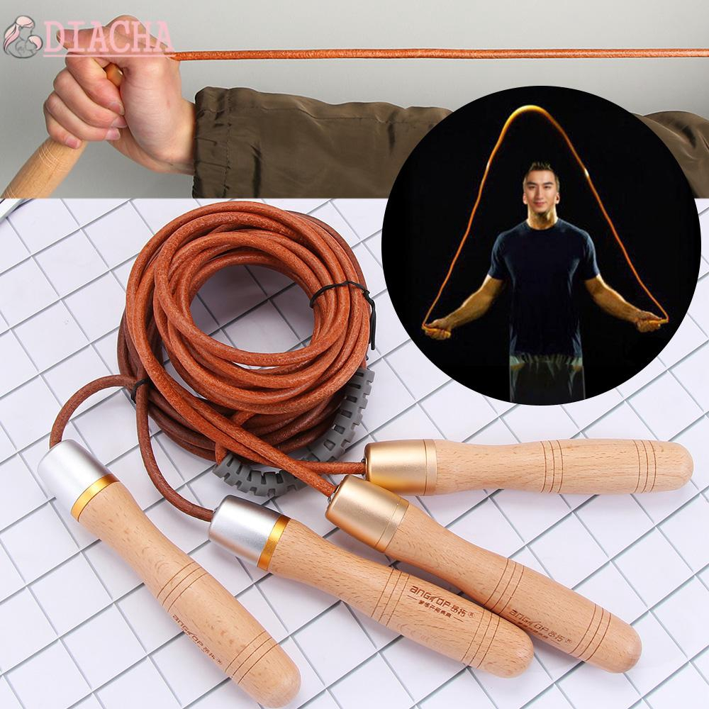 Skipping Rope Leather String Wooden Handles Speed Jump Excercise Fitness Boxing