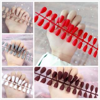 2 IN 1 With Lem Kuku Palsu Panjang Warna Kulit Matte Untuk Balet False nails Scrub nails Seni Kuku Seni Kuku Dengan Lem thumbnail