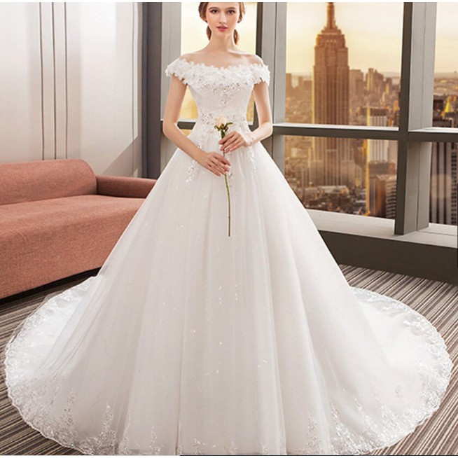Gaun Pengantin Simple Sweet Large Size Lace Korean Wedding Dress Long Tail Wedding Dress Shopee Indonesia
